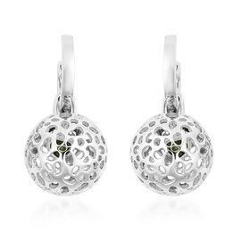 RACHEL GALLEY Russian Diopside Detachable Lattice Globe Drop Earrings in Rhodium Overlay Sterling Si