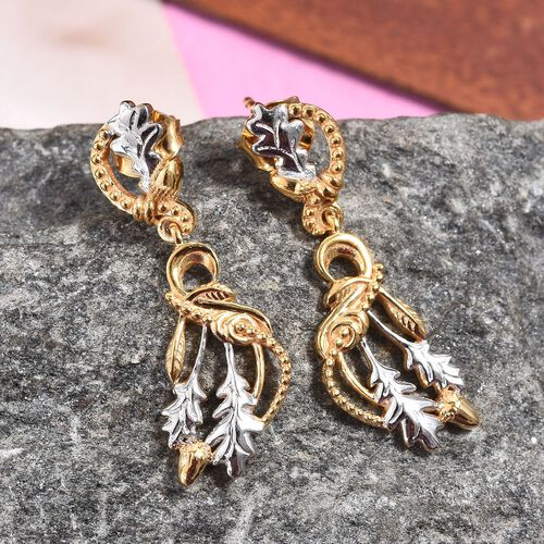 Platinum and Yellow Gold Overlay Sterling Silver Acorn Leaf Earrings (with Push Back)