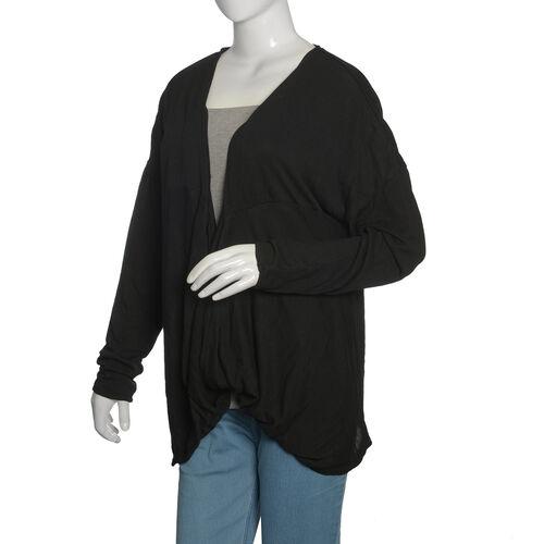 Black Colour Cowl Neck Pattern Cardigan (Size Large / Xtra Large)