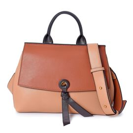 Limited Edition- 100% Genuine Leather Brown and Beige Colour Bag (Size 26x12.5x22.5 Cm) with Detacha