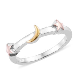 Platinum, Yellow and Rose Gold Overlay Sterling Silver Star and Moon Ring