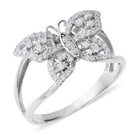 ELANZA Simulated Diamond (Rnd) Butterfly Ring in Rhodium Overlay Sterling Silver, Silver wt 3.15 Gms.
