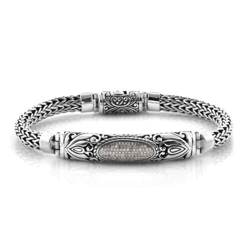 Bali Legacy Collection Natural Cambodian White Zircon (Rnd) Tulang Naga Bracelet (Size 8.5) in Sterling Silver, Silver wt 39.20 Gms.