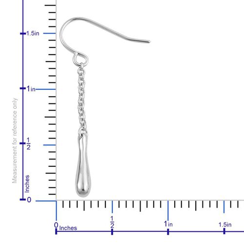 LucyQ Single Drip Hook Earrings in Rhodium Plated Sterling Silver