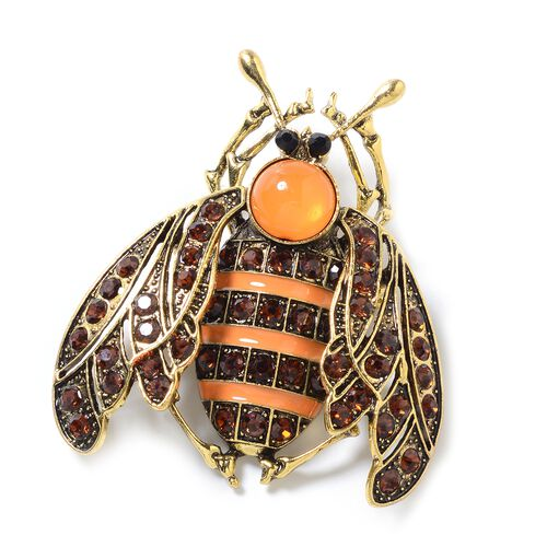 Brown and Black Austrian Crystal (Rnd) Cicada Brooch in Yellow Tone with Enameled