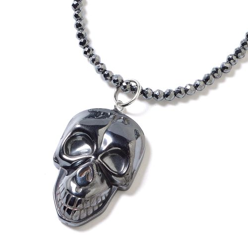 One Time Deal- Set of 2 Hematite Necklace (Size 22) and Skull Pendant Set in Stainless Steel 118.000  Ct.