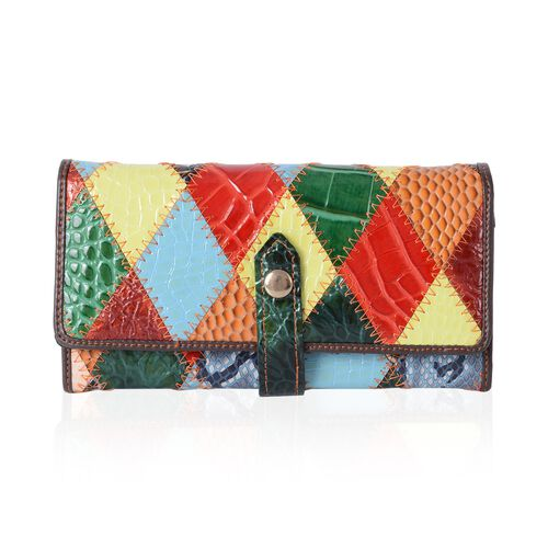Morocco Collection 100% Genuine Leather Colour Block Croc Embossed Wallet (Size 19x10x2.5 Cm)