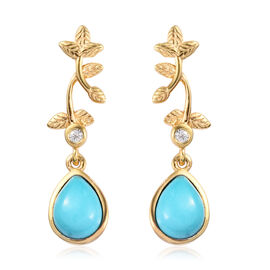 Arizona Sleeping Beauty Turquoise and Natural Cambodian Zircon Earrings (with Push Back) in 14K Gold