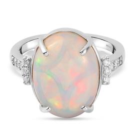 RHAPSODY 950 Platinum AAAA  Ethiopian Welo Opal and Diamond ( E -F / VS ) Ring 5.60 Ct, Platinum wt