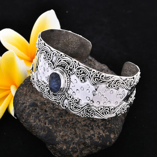 Tucson Special - Tanzanite (Ovl 14x10mm) Cuff Bangle (Size 7.25) in Sterling Silver 7.50 Ct, Silver wt 36.10 Gms