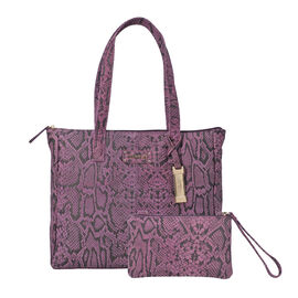 Union Code 100% Genuine Leather Plum Snake-Skin Pattern Tote Bag and RFID Wristlet/Clutch Bag