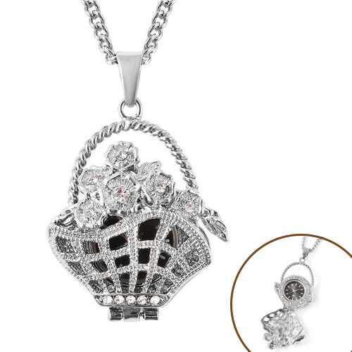 STRADA Japanese Movement Crystal Studded Hollow Flower Basket Locket Watch with Chain (Size 29 with