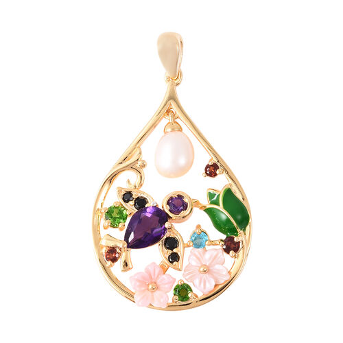 Jardin Collection - Freshwater Pearl, Amethyst and Multi Gemstone Enamelled Floral Pendant in Yellow