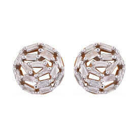 Diamond (Bgt) Stud Earrings (with Push Back) in 14K Gold and Platinum Overlay Sterling Silver 0.330