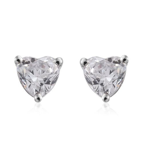 J Francis - 9K White Gold (Hrt) Stud Earrings (with Push Back) Made with SWAROVSKI ZIRCONIA