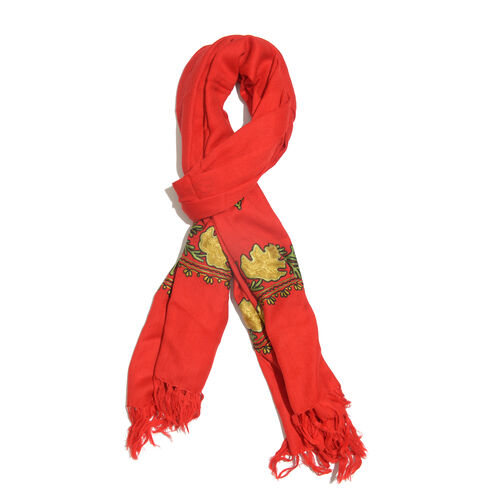 One Time Deal-100% Merino Wool True Red, Yellow and Multi Colour Embroidered Shawl with Tassels (Siz