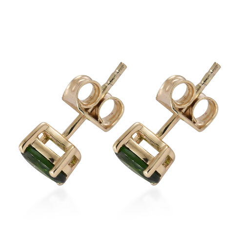9K Yellow Gold AAA Russian Diopside (Ovl) Stud Earrings (with Push Back) 1.000 Ct.