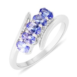 Tanzanite (Ovl) Bypass Five Stone Ring in Rhodium Overlay Sterling Silver 1.25 Ct.
