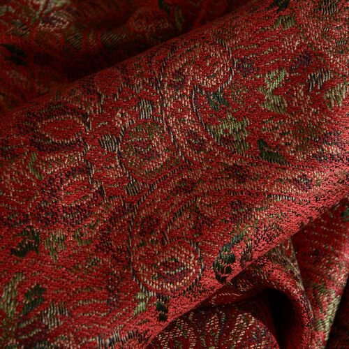 SILK MARK - 100% Superfine Silk Red, Green and Multi Colour Jacquard Jamawar Scarf with Tassels (Size 180x70 Cm) (Weight 125- 140 Gms)