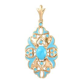 Arizona Sleeping Beauty Turquoise Enamelled Pendant in 14K Gold Overlay Sterling Silver 1.050 Ct.