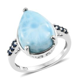 Larimar (Pear 16X12 mm), Kanchanaburi Blue Sapphire Ring in Platinum Overlay Sterling Silver 9.000 Ct.