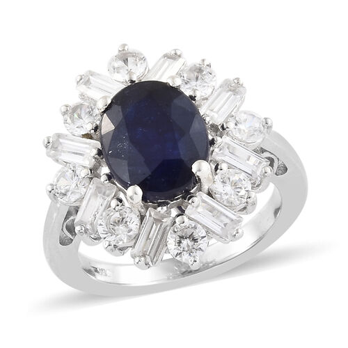 Cocktail Collection- Masoala Sapphire (Ovl 10x8 mm 3.20 Cts), Natural Cambodian Zircon Ring in Plati