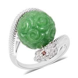 AAA Carved Green Jade, Natural Cambodian Zircon and Mozambique Garnet Fortune Ball Snake Ring in Rho