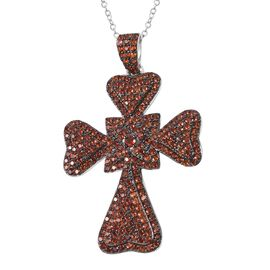 Mozambique Garnet (Rnd) Leaf Clover Cross Pendant with Chain in Rhodium and Black Plating Sterling S