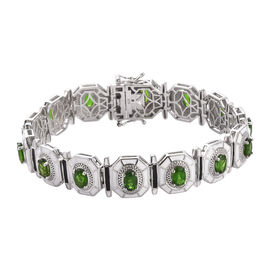 Russian Diopside Enamelled Bracelet (Size 7.5) in Platinum Overlay Sterling Silver 7.25 Ct, Silver w