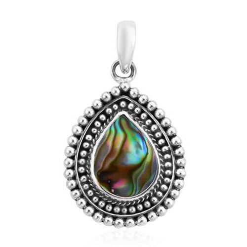 Royal Bali Collection - Abalone Shell Pendant in Sterling Silver, Silver wt 3.41 Gms