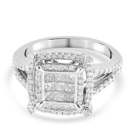 9K White Gold Natural White Diamond (I3/H-I) Ring 0.99 ct, Gold Wt. 5.20 Gms