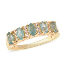 Grandidierite (Ovl 5x3 mm), Natural White Cambodian Zircon Ring in Yellow Gold Overlay Sterling Silv