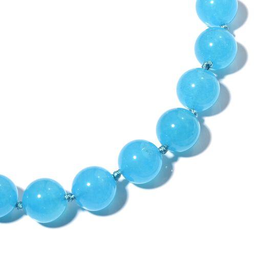 Designer Inspired- Aquamarine Colour Quartzite (Rnd) Beads Necklace (Size 18) 534.000 Ct