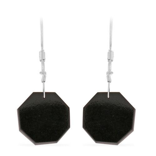 One Time Deal- Black Tourmaline Hexagon Cut Hook Earrings in Sterling Silver 22.25 Ct.