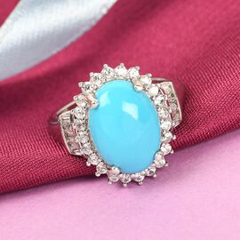 Arizona Sleeping Beauty Turquoise and Natural Cambodian Zircon Ring in Platinum Overlay Sterling Silver 5.820 Ct.