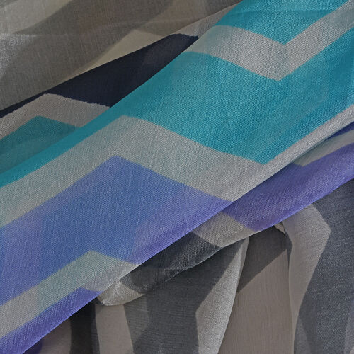 100% Mulberry Silk Blue, White and Multi Colour Handscreen Chevron Printed Scarf (Size 170X50 Cm)