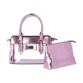 2 Piece Set - Metallic Pink Colour Bowknot Satchel Bag (Size 28x12x16cm) with Zipper Closure and Pou