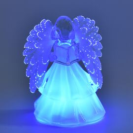 Xmas Decoration - Angel Reading Book Colour Changing Lamp (Size 15.5x10 Cm) - White (3xAAA Battery n