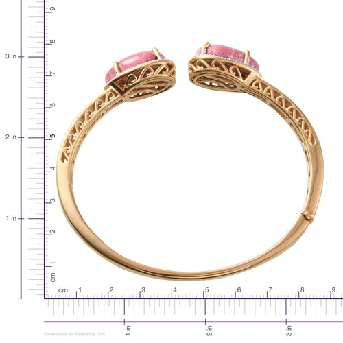 Norwegian Thulite (Pear), Diamond Open Bangle (Size 7.5) in 14K Gold Overlay Sterling Silver 25.050 Ct.