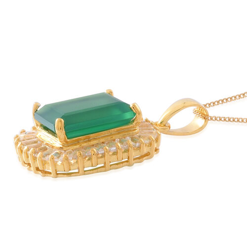Verde Onyx (Oct 7.25 Ct), White Topaz Pendant With Chain in 14K Gold Overlay Sterling Silver 10.500 Ct.