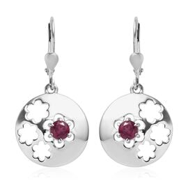 Rhodolite Garnet (Rnd) Lever Back Earrings in Platinum Overlay Sterling Silver 0.75 Ct.