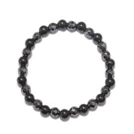 Shungite and Hematite Stretchable Bead Bracelet (Size 8) 137.00 Ct.