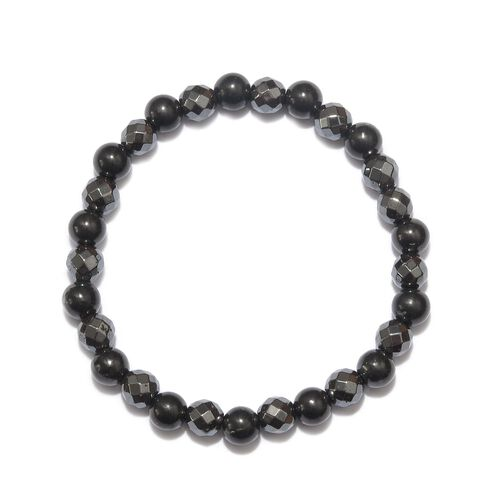 137 Ct Shungite and Hematite Stretchable Beaded Bracelet 8 Inch