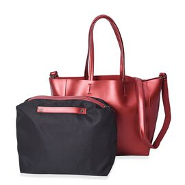 2 Piece Set - 100% Genuine Leather Tote Bag with Detachable Shoulder Strap and a Pouch - Metallic Re