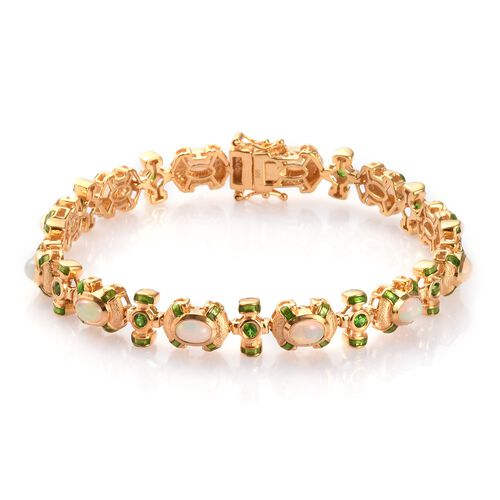 Ethiopian Welo Opal and Russian Diopside Enamelled Bracelet (Size 8) in 14K Gold Overlay Sterling Si