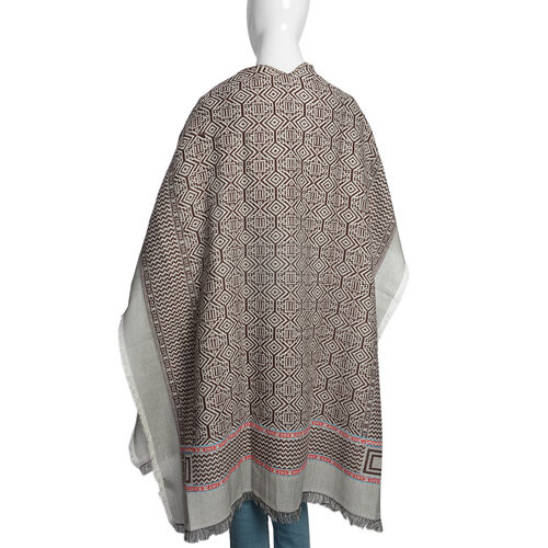 Italian Designer Inspired Chocolate, Grey and Multi Colour Woven Poncho (Free Size)