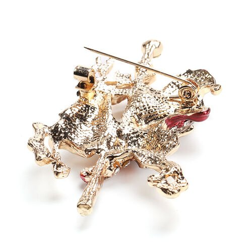 Red and Black Austrian Crystal Enamelled Christmas Theme Santa on Reindeer Brooch