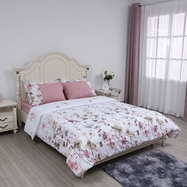 6 Piece Set - Floral Pattern Comforter (220x225cm), Fitted Sheet (140x190+30cm), 2 Pillow Case and 2