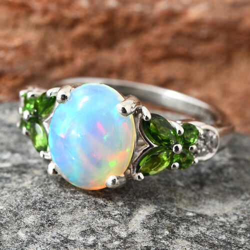Ethiopian Welo Opal (Ovl 10x8 mm), Russian Diopside and Natural Cambodian Zircon Ring in Platinum Overlay Sterling Silver 2.250 Ct.