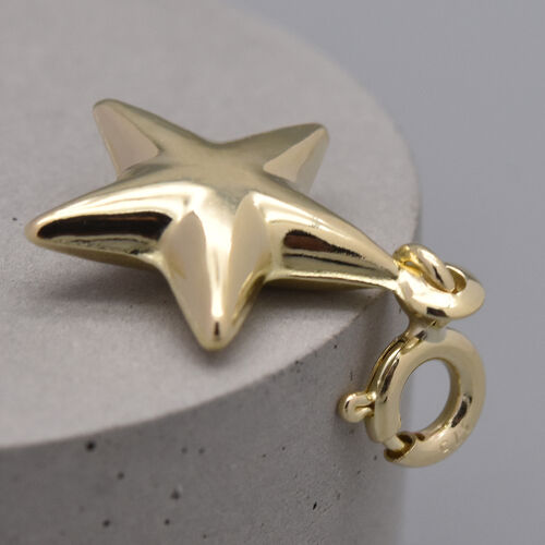 9K Yellow Gold Star Spring Ring Charm Pendant